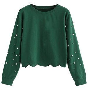 NWOT Pearl Sleeve Green Top